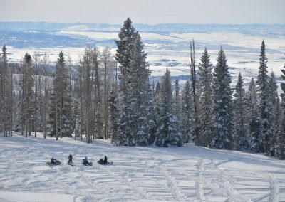 4 snowmobile riders sitting on snowmobiles on a snow covered mountain